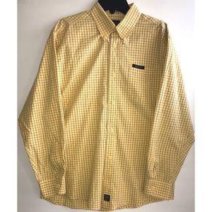 Nautica boys yellow blue dress shirt size 12/14